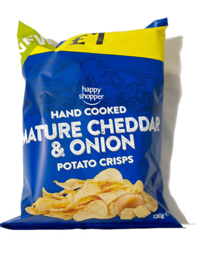 Happy Shopper Hand Cooked Crisps Mature Cheddar & Onion
